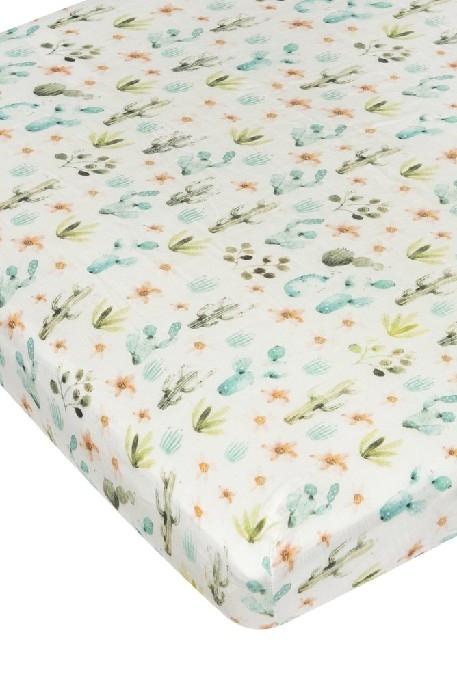 Loulou Lollipop - Drap de lit de bébé- Cactus Floral