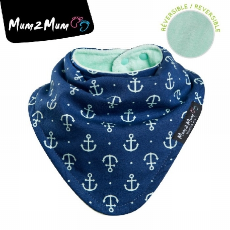 Fashion Bandana - Réversible-Navy Anchor