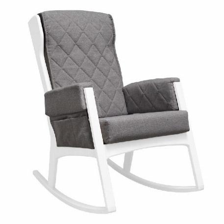 Chaise berçante Margot - Bois Blanc et Tissu Gris