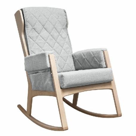 Dutailier - Chaise berçante Margot - Bois naturel et Tissu Gris pâle