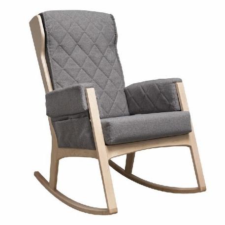 Dutailier - Chaise berçante Margot - Bois naturel et Tissu Gris