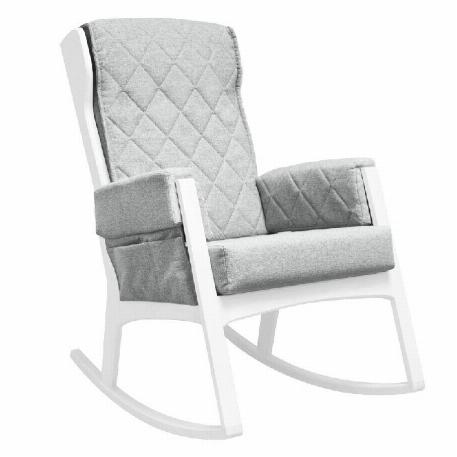 Dutailier - Chaise berçante Margot - Bois Blanc et Tissu Gris pâle