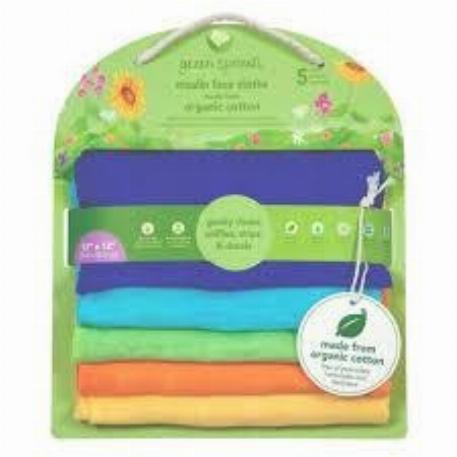 Green Sprouts - Paquet de 5 débarbouillettes en mousseline de coton biologique