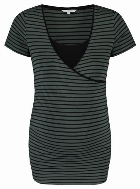 T-Shirt grossesse et allaitement, Olive & Noir - Noppies