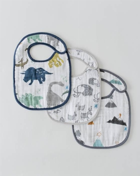 Bavoirs classiques (paquet de 3), Dinosaures - Little Unicorn