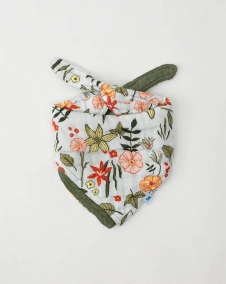 Bavoir bandana réversible, Fleurs/Vert - Little Unicorn