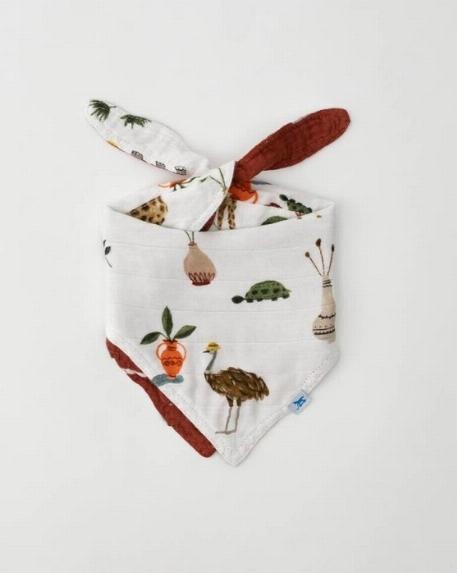 Bavoir bandana réversible en bambou, Safari/Orange brulé - Little Unicorn