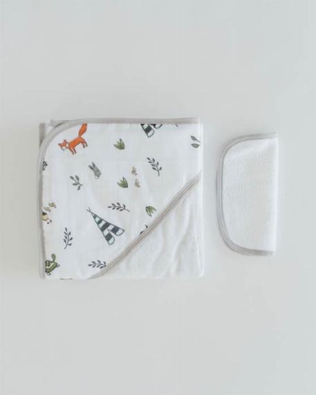 Sortie de bain et Gant de toilette, Amis de la forêt - Little Unicorn