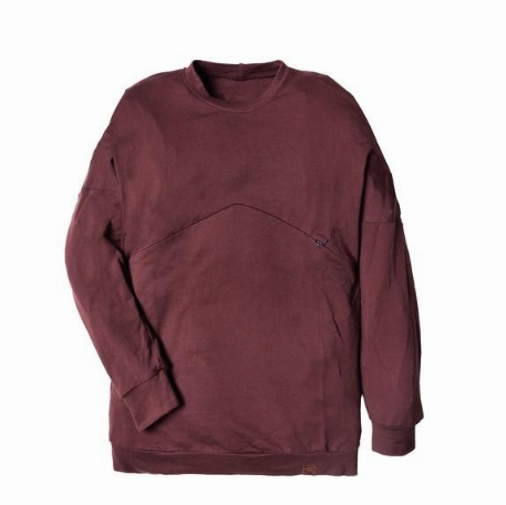Chandail boyfriend pour femme, grossesse et allaitement - Bourgogne | Nine Clothing