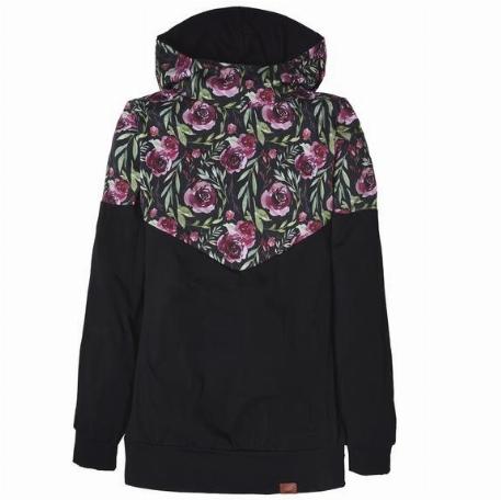 Hoodie pour femme, grossesse et allaitement - Fleurs bourgognes | Nine Clothing