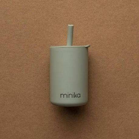 Verre à paille et couvercle - Sage | Minika