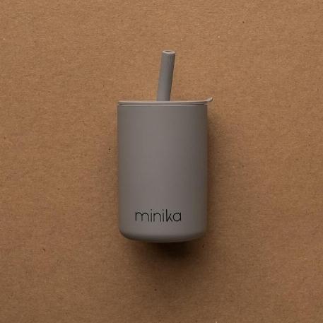 Verre à paille et couvercle - Stone | Minika