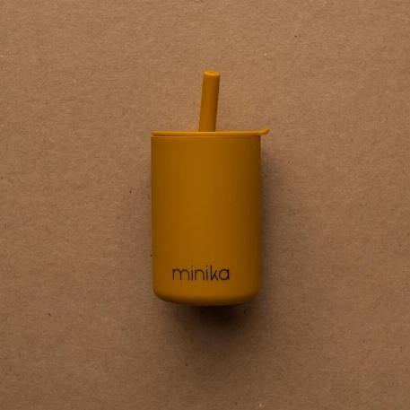 Verre à paille et couvercle - Ocre | Minika