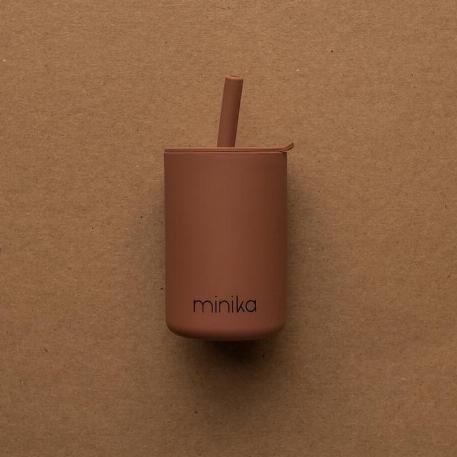 Verre à paille et couvercle - Cacao | Minika