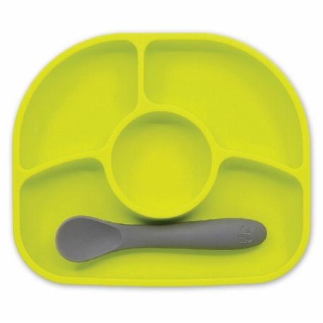 Yümi - Ensemble d'assiette et cuillère en silicone- Lime