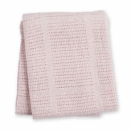 Lulujo - Couverture en coton tricotée - Rose