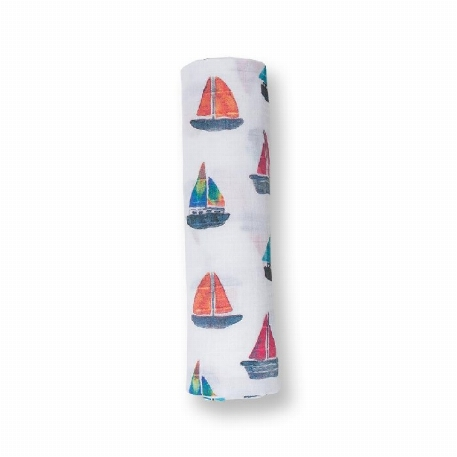 Lulujo - Security Blankets Muslin Cotton - Sailboat