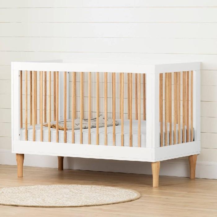 South Shore- Lit de bébé- hauteur ajustable, Blanc et Naturel, Balka
