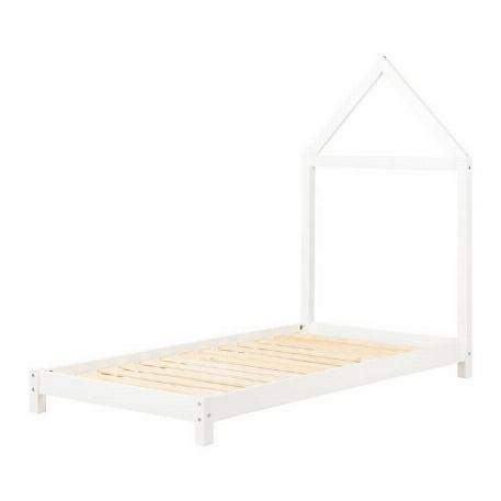 Lit avec tête de lit maison en bois solide - South Shore
